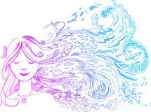 Женщина с длинними волосами Стоковые Фото