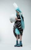 Женщина с длинними cyan волосами Стоковые Фотографии RF