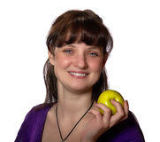 Женщина с Apple Стоковое Изображение RF