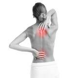 Женщина с backache стоковое изображение