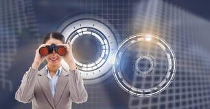 Женщина с binocualars и накаляя интерфейсом технологии круга иллюстрация вектора