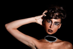 Женщина с neckless составом стоковая фотография