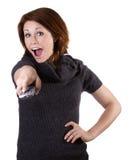 Женщина с remote Стоковая Фотография RF