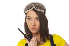Женщина с walkie-talkie Стоковое Изображение