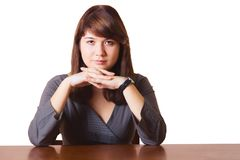 женщина таблицы дела сидя Стоковое Изображение