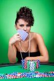 женщина таблицы покера Стоковое фото RF