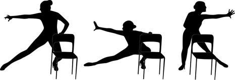 Женщина танца с вектором силуэта стула иллюстрация вектора