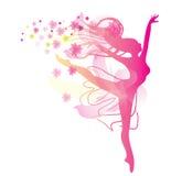 Женщина танцев в розовых цветах иллюстрация штока
