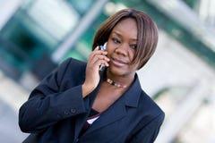 женщина телефона дела афроамериканца Стоковые Фотографии RF