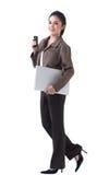 женщина телефона компьтер-книжки дела Стоковое Изображение RF