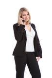 женщина телефона красивейшего дела говоря Стоковые Изображения RF
