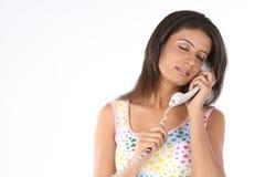 женщина телефона приемника говоря Стоковое Изображение RF