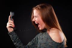 женщина телефона приемника Стоковое Изображение