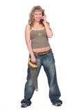 женщина телефона стоящая Стоковые Фото