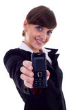 женщина телефона удерживания дела Стоковая Фотография