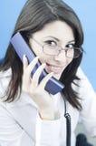 женщина телефона успешная Стоковые Изображения RF