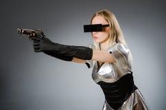 Женщина техника в футуристическом Стоковые Фото