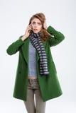 женщина телефона говоря потревожилась Стоковая Фотография