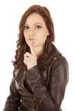 женщина тиши стороны выражения стоковые изображения