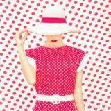 Женщина точек польки моды Стоковые Изображения RF