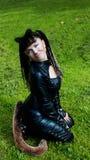 женщина травы кота Стоковое Изображение