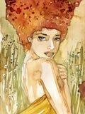женщина травы иллюстрация штока