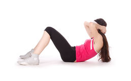 женщина тренировки пригодности abs Стоковые Изображения RF