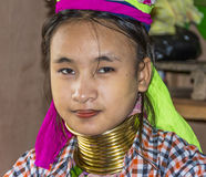 женщина трибы портрета padaung Стоковая Фотография