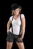 женщина тройника рубашки черной шляпы Стоковое Изображение