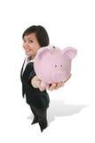 женщина удерживания банка Стоковое Изображение RF