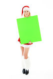 женщина удерживания зеленого цвета рождества знамени пустая Стоковые Изображения RF