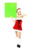 женщина удерживания зеленого цвета рождества знамени пустая Стоковое Изображение RF