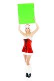 женщина удерживания зеленого цвета рождества знамени пустая Стоковое Фото