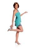 женщина удерживания пятки высокая Стоковое Изображение RF