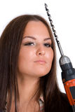 женщина удерживания сверла батареи Стоковое Фото