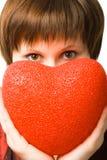 женщина удерживания сердца Стоковое Изображение