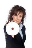 женщина удерживания dvd диска дела Стоковое Изображение RF