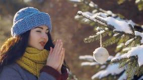 Женщина украшает ель с игрушкой во время Нового Года в лесе видеоматериал