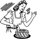 Женщина украшая торт бесплатная иллюстрация