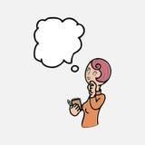 Женщина думая и принимая примечание Стоковая Фотография RF
