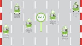 Женщина управляет зеленым автомобилем в Саудовской Аравии на ноче Вектор Illust Стоковое Изображение
