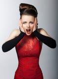 женщина усилия эмоциональной стороны симпатичная Стоковое фото RF