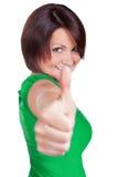 Женщина усмехается и чувствуется очень хорошей Стоковая Фотография RF