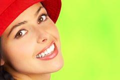 женщина усмешки стороны Стоковое Изображение