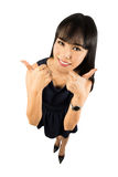 Женщина успеха давая большие пальцы руки поднимает знак Стоковые Изображения