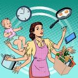 Женщина успеха семьи времени работы домохозяйки Стоковое Изображение
