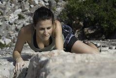 женщина утеса альпиниста Стоковые Фотографии RF