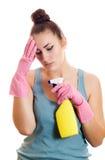 Женщина утомлянная чистки Стоковые Изображения