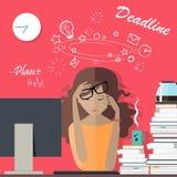 Женщина утомляла на работе deadline раздробите на участки для работы иллюстрация штока