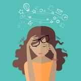 Женщина утомляла на работе deadline раздробите на участки для работы бесплатная иллюстрация